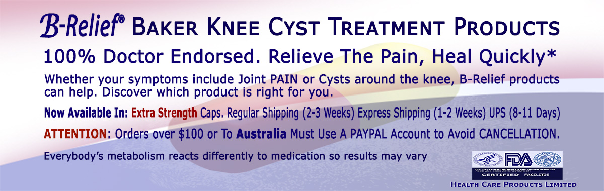 Baker's-Knee-Cyst-Cure B-Relief Capsules. Dissolves Baker's Cyst Naturally. INFO: bakerstreatment.com
